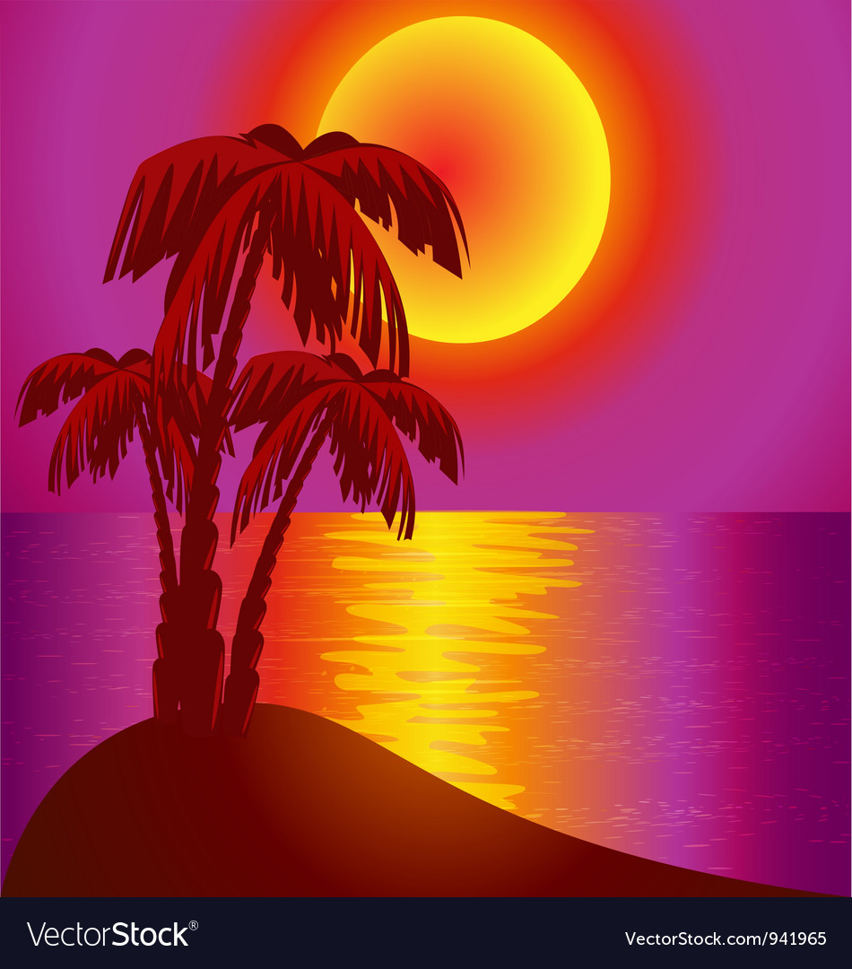 Tropical island background vector | Price: 1 Credit (USD $1)