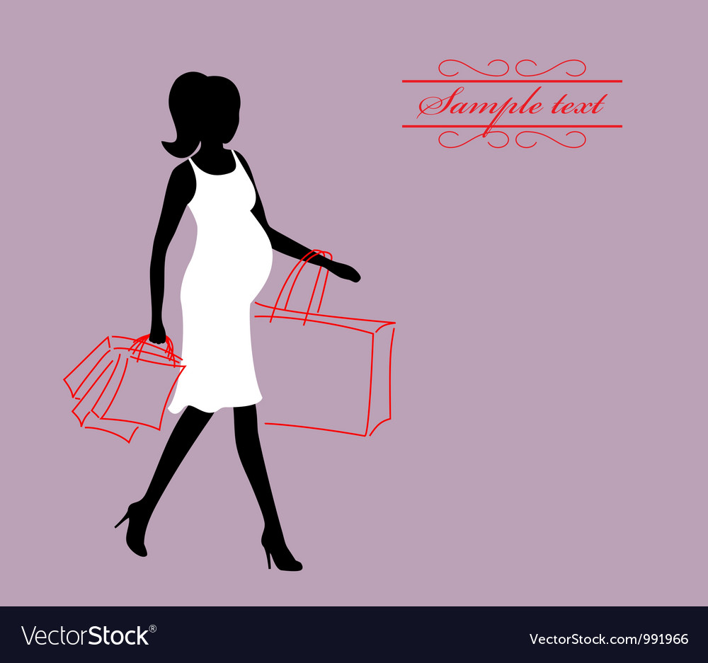 A pregnant woman with shopping bags vector | Price: 1 Credit (USD $1)