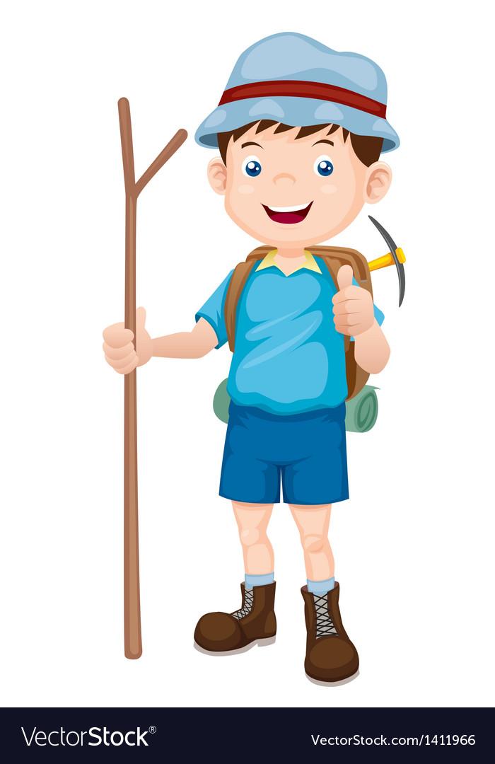 Boy hiking vector