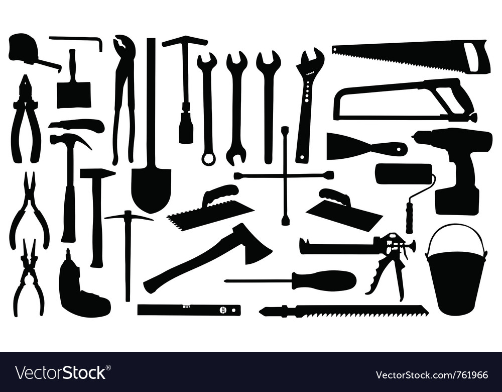 Construction tools silhouettes vector | Price: 1 Credit (USD $1)