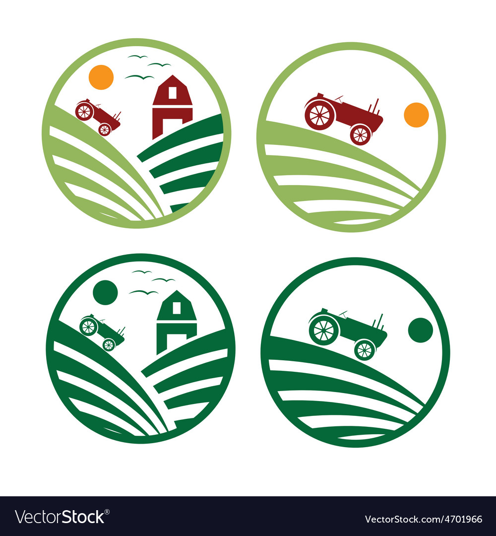 Farm with tractor emblems set vector | Price: 1 Credit (USD $1)