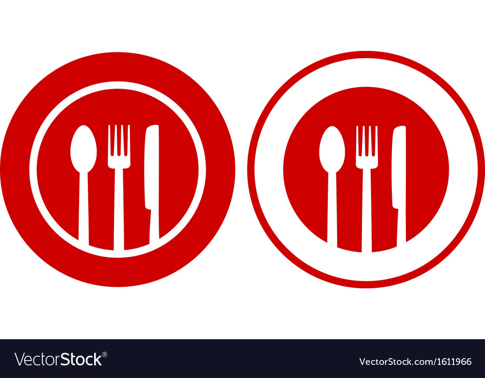 Icons with plate fork spoon knife vector | Price: 1 Credit (USD $1)