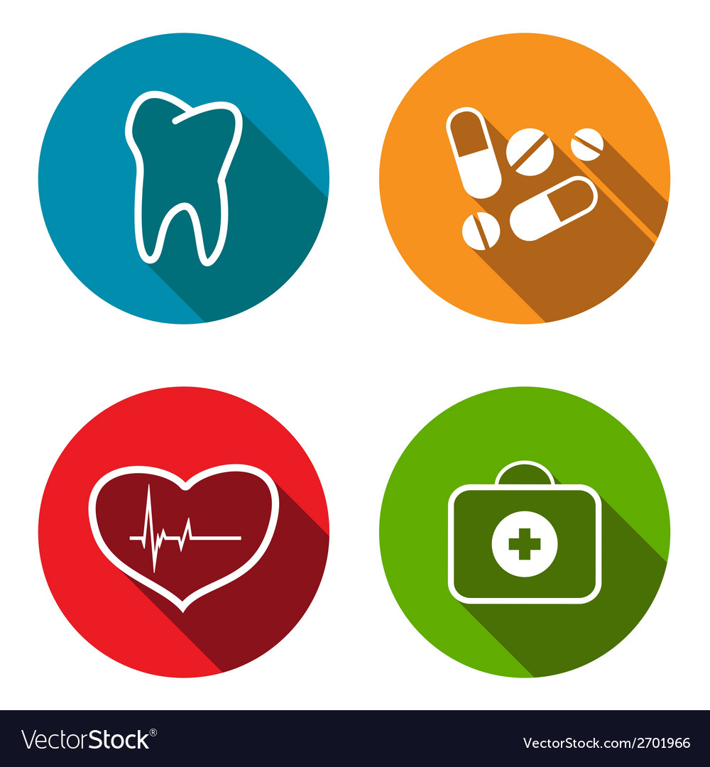 Medical flat icon set vector | Price: 1 Credit (USD $1)