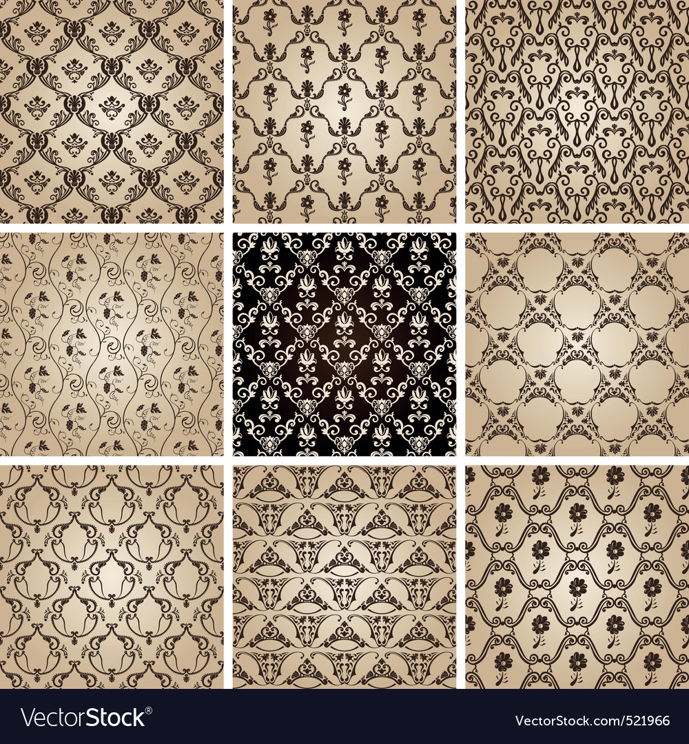 Seamless vintage backgrounds set brown baroque wal vector   Price: 1 Credit (USD $1)