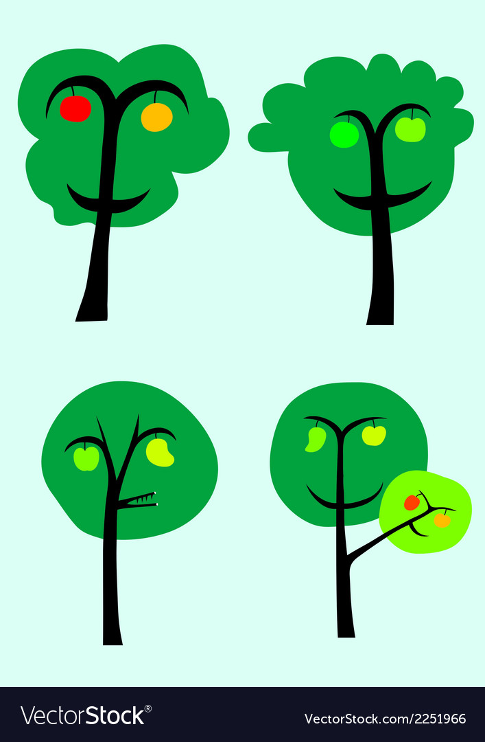 Trees with fruits vector | Price: 1 Credit (USD $1)
