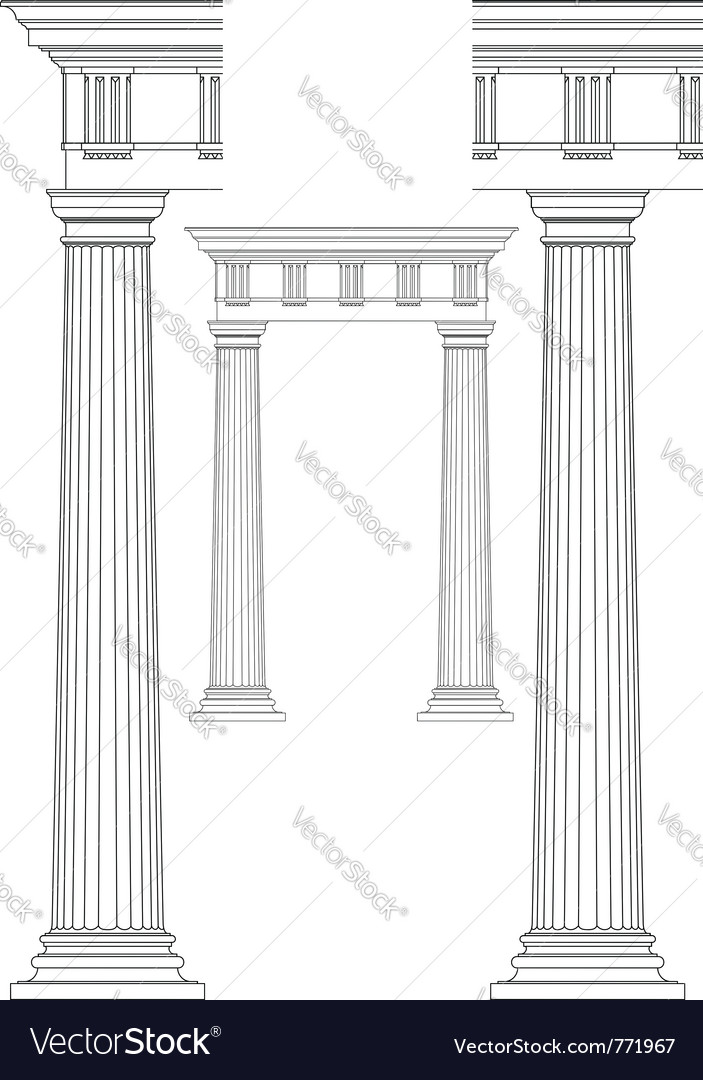 Doodle of classic columns vector | Price: 1 Credit (USD $1)