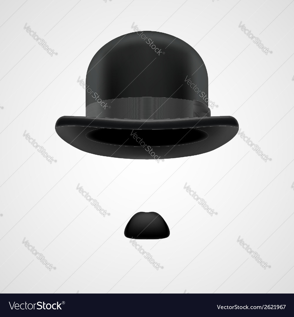 Gentleman with small moustaches and bowler hat vector | Price: 1 Credit (USD $1)