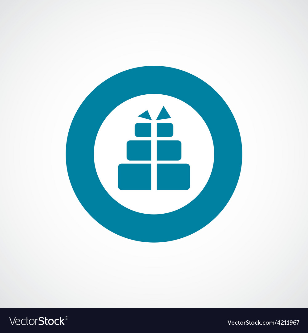 Gift icon bold blue circle border vector   Price: 1 Credit (USD $1)
