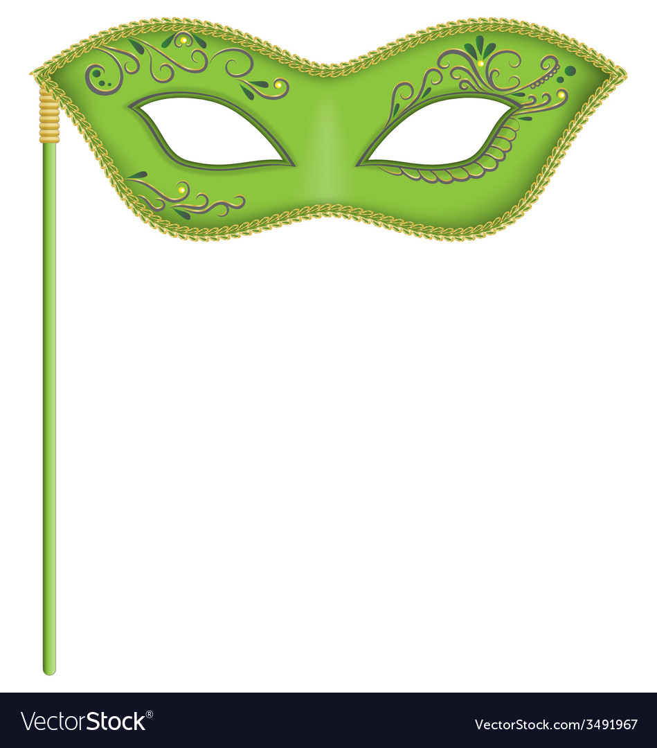 Green mask on stick vector | Price: 1 Credit (USD $1)