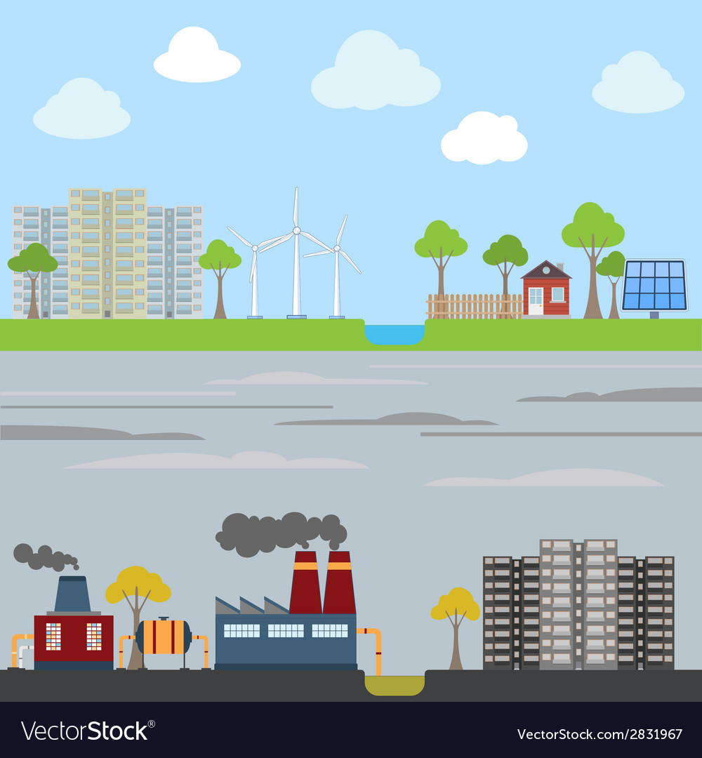 Industrial and eco city concept vector | Price: 1 Credit (USD $1)