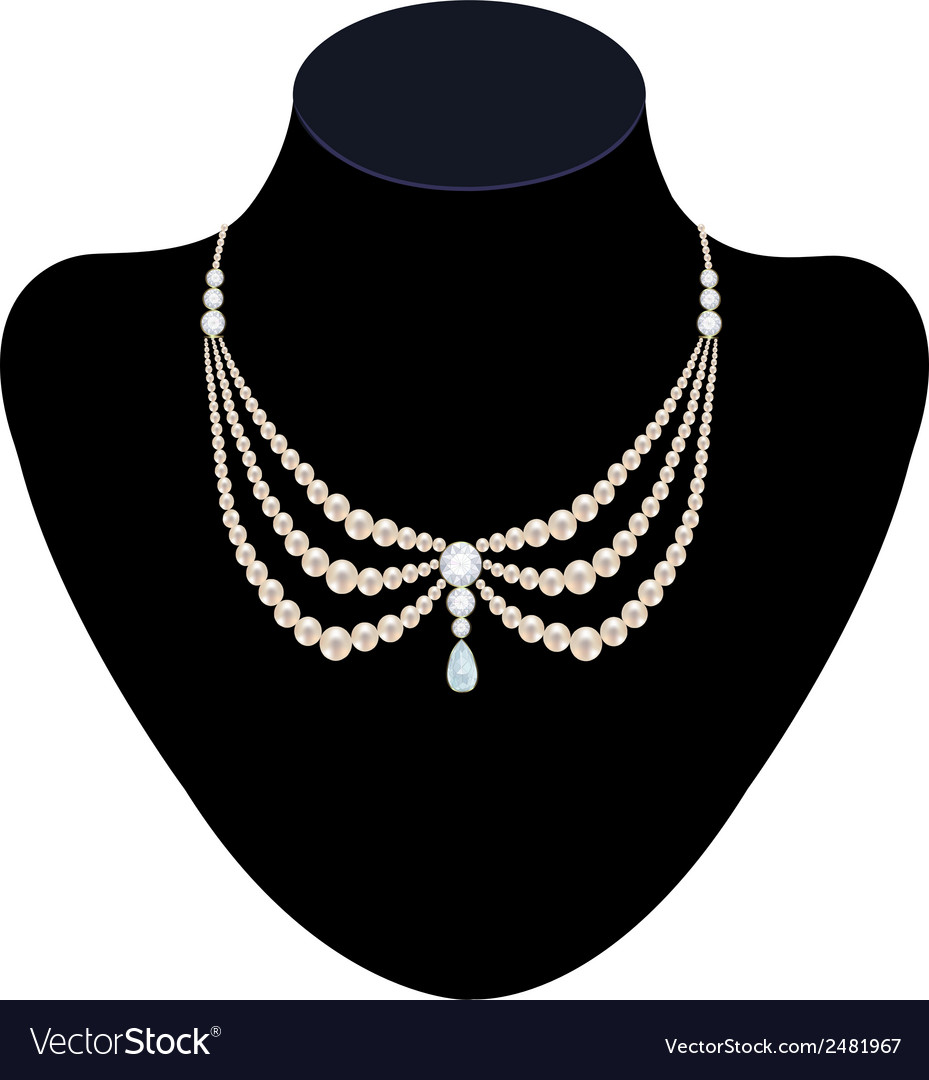 Pearl necklace with diamonds vector | Price: 1 Credit (USD $1)