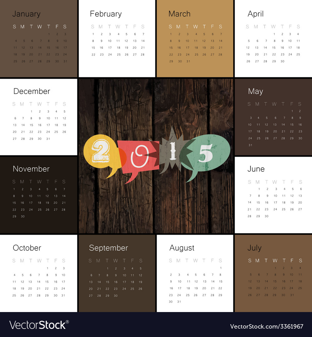 Retro styled calendar 2015 vector | Price: 1 Credit (USD $1)
