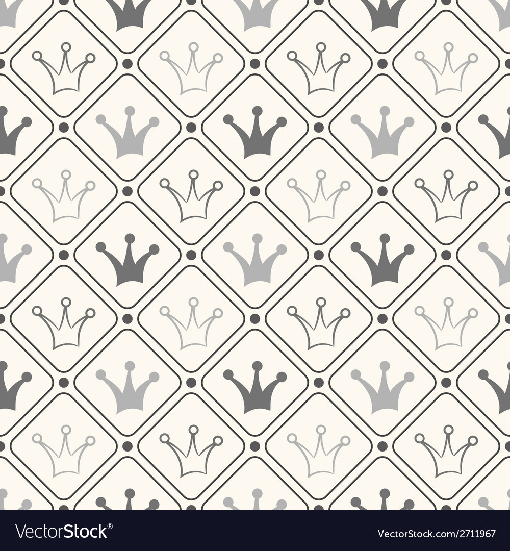 Simple seamless pattern with crown black and white vector | Price: 1 Credit (USD $1)