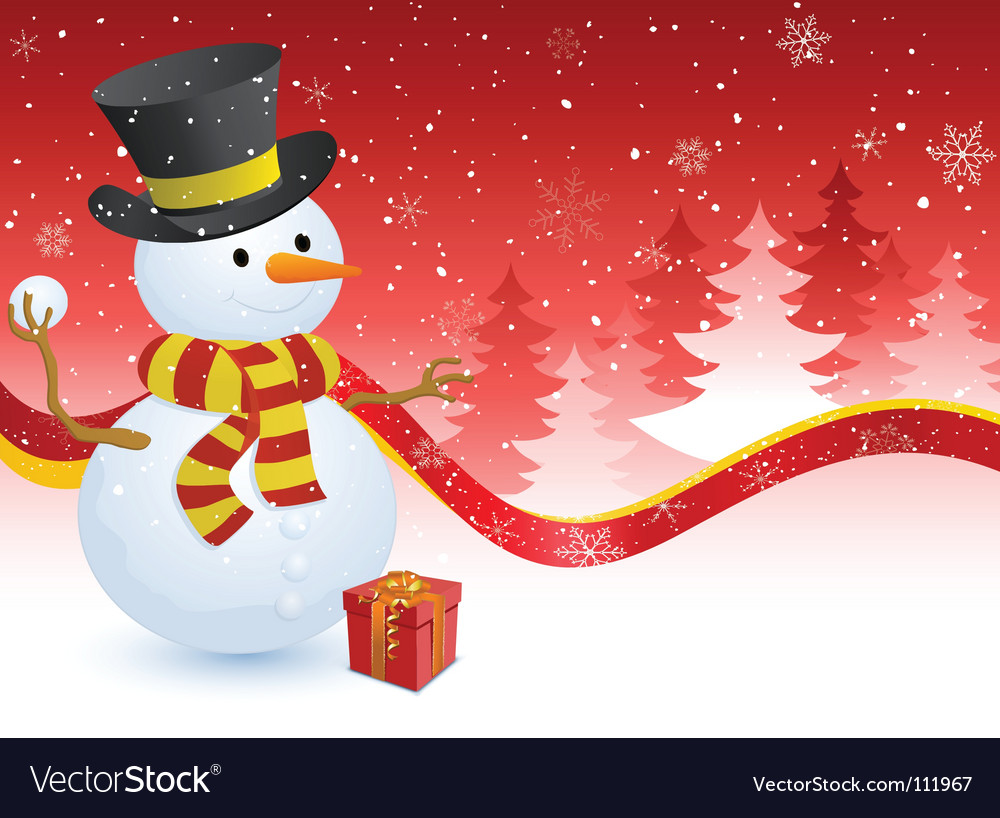 Snowman with a gift box vector | Price: 1 Credit (USD $1)