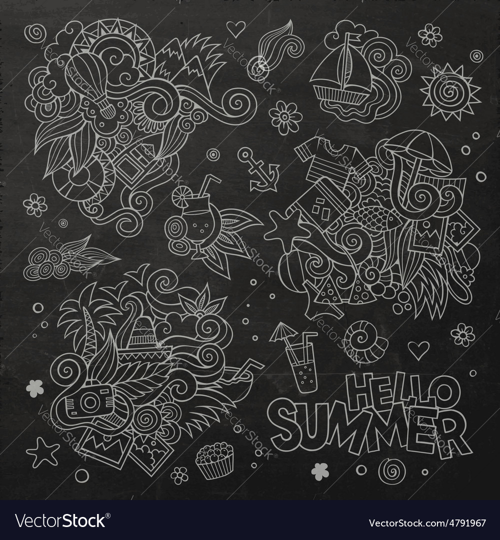 Summer and vacation chalkboard symbols vector | Price: 1 Credit (USD $1)