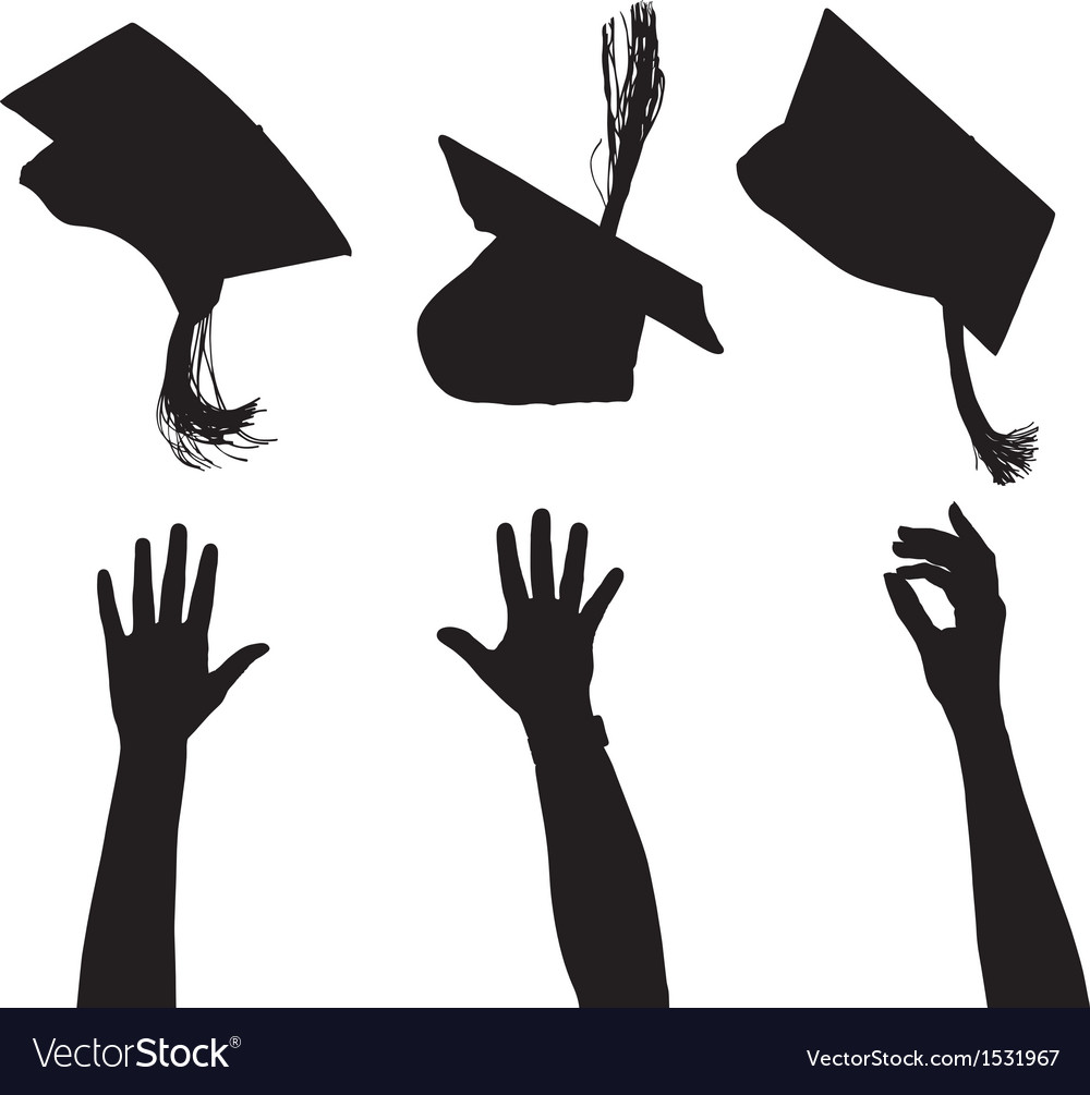 Tossing mortarboard silhouette vector | Price: 1 Credit (USD $1)