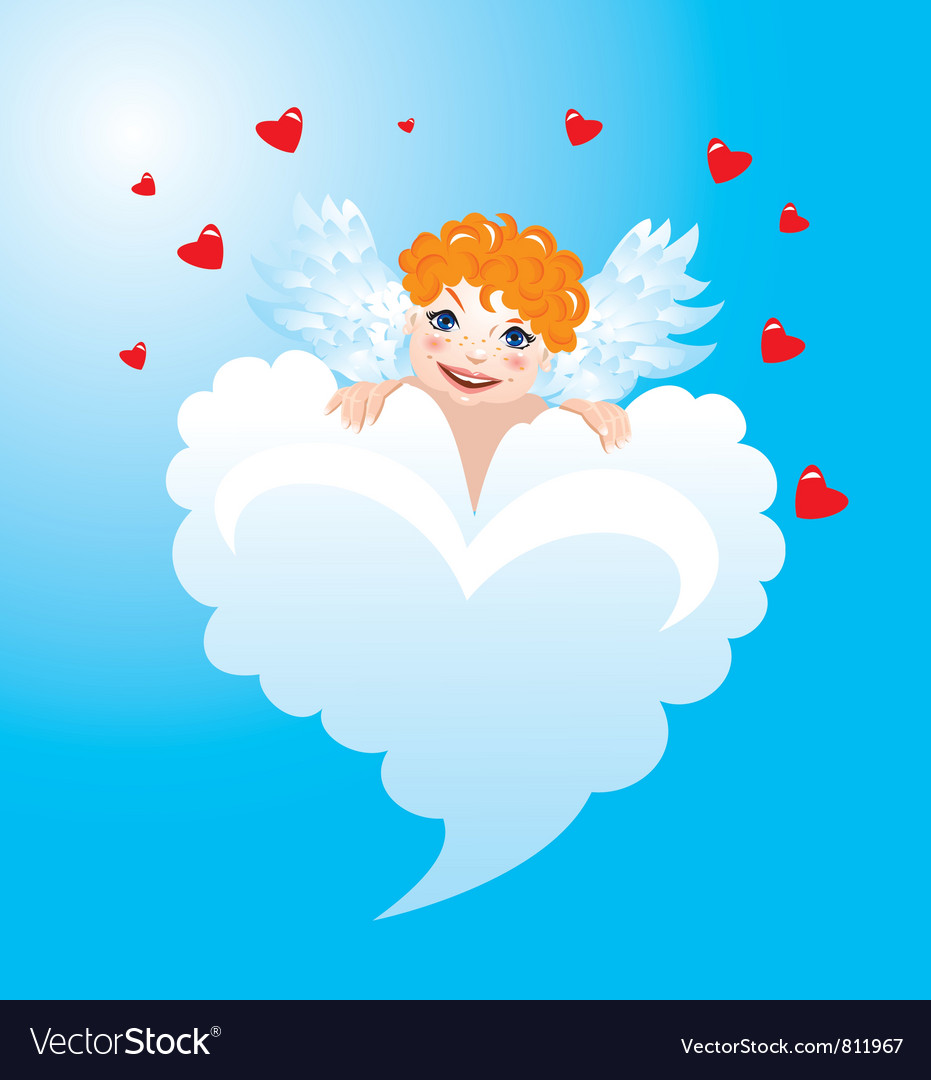 Valentines day card with funny angel vector | Price: 1 Credit (USD $1)