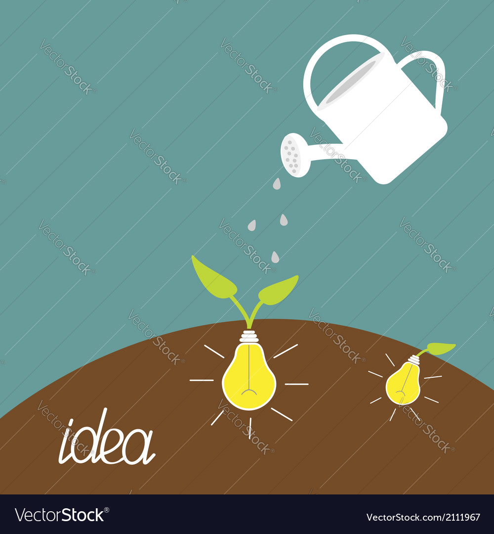 Watering can and lamp bulb plant growing idea vector | Price: 1 Credit (USD $1)