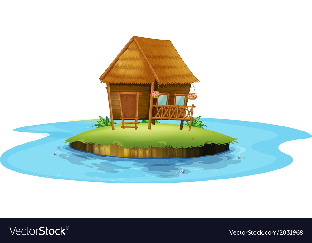 An island with a small nipa hut vector | Price: 1 Credit (USD $1)