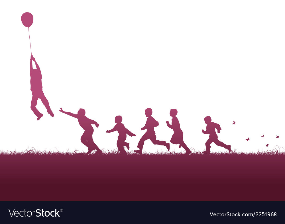 Balloon and children vector | Price: 1 Credit (USD $1)
