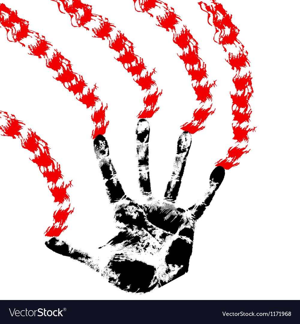 Bloody hand prints on a white background vector | Price: 1 Credit (USD $1)