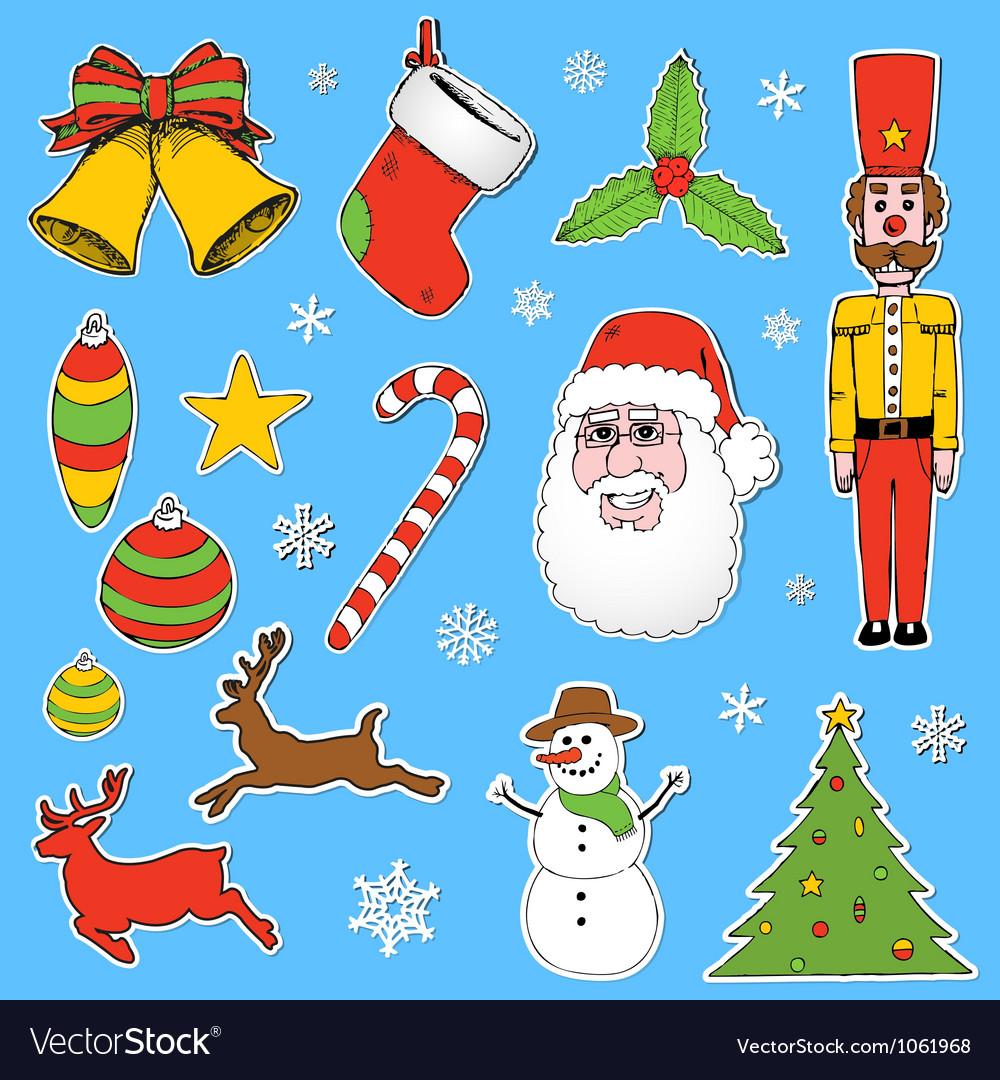 Cartoon christmas elements vector | Price: 1 Credit (USD $1)