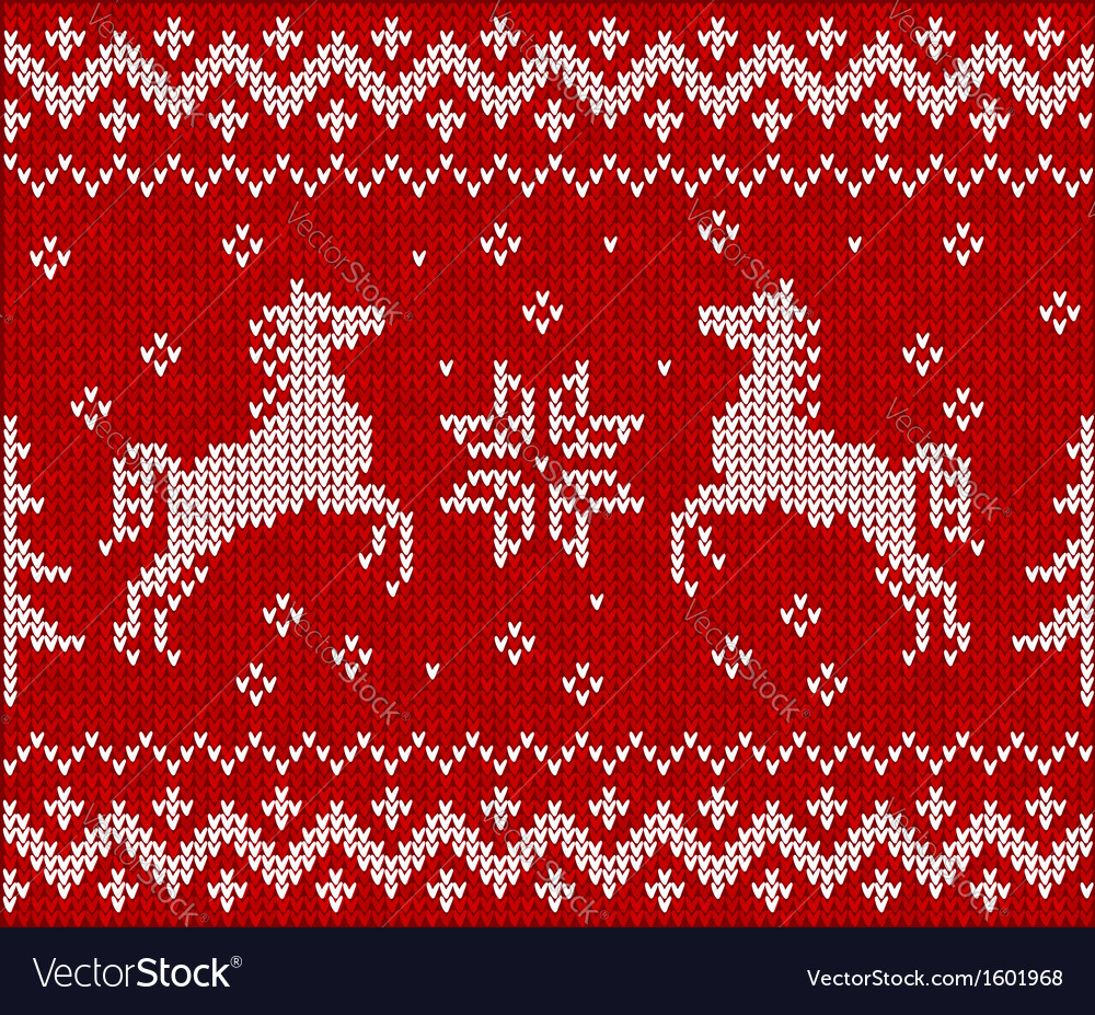 Christmas knit in norway style with horses vector | Price: 1 Credit (USD $1)