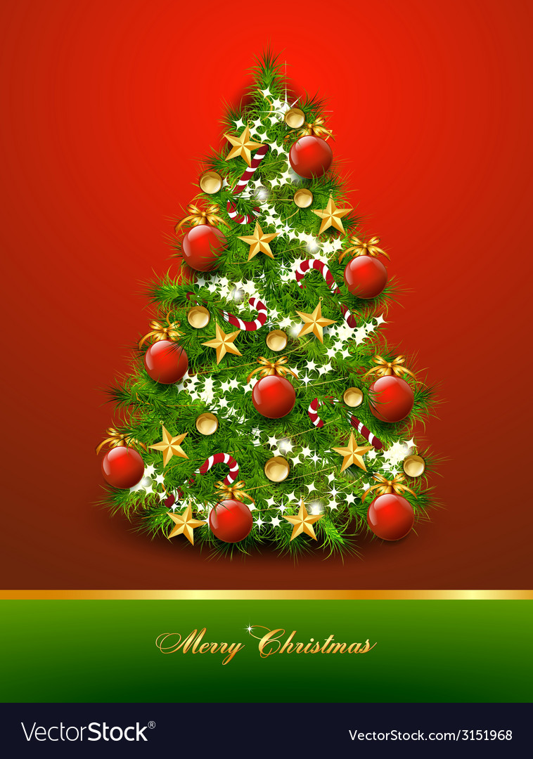 Christmas tree decorated with balls and stars on vector | Price: 1 Credit (USD $1)