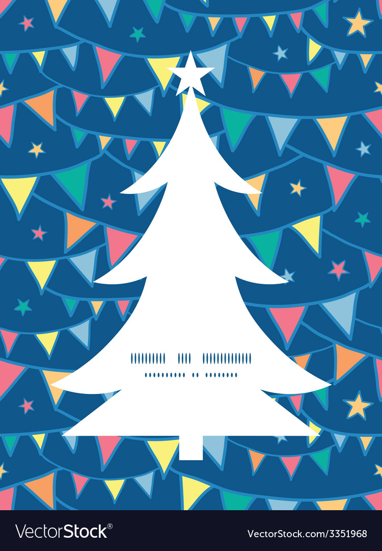 Colorful doodle bunting flags christmas tree vector | Price: 1 Credit (USD $1)