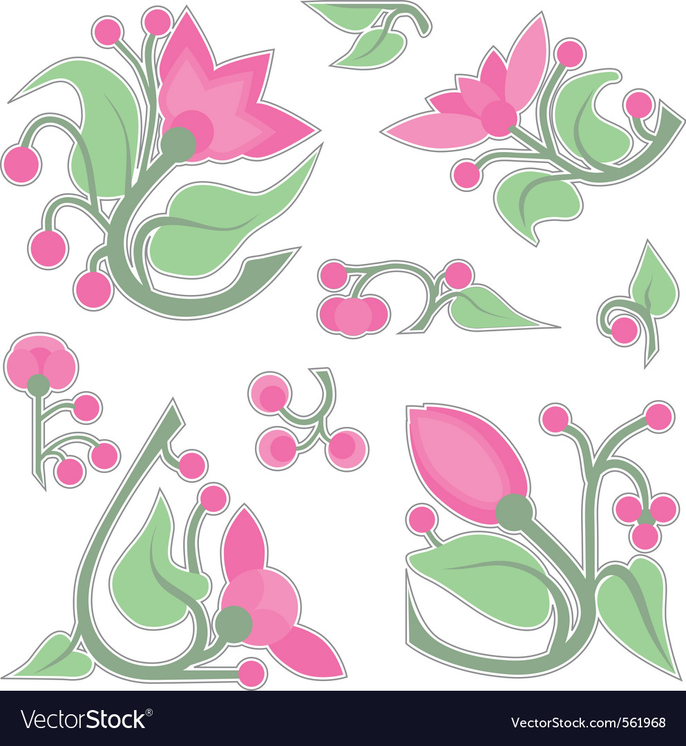 Flower vignettes vector | Price: 1 Credit (USD $1)