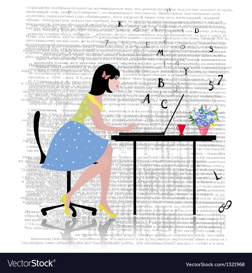 Glamorous laptop girl vector | Price: 1 Credit (USD $1)