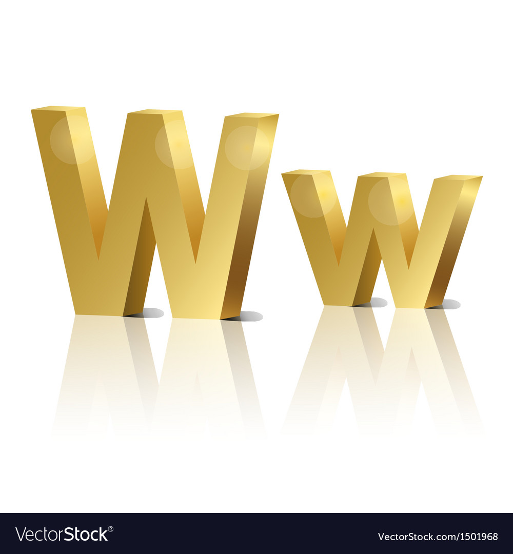 Golden letter w vector | Price: 1 Credit (USD $1)