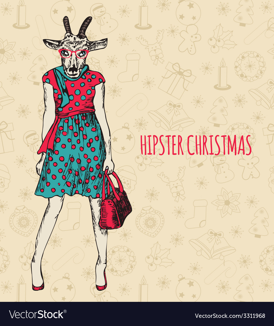 Hand drawn goat woman hipster christmas greeting vector | Price: 1 Credit (USD $1)