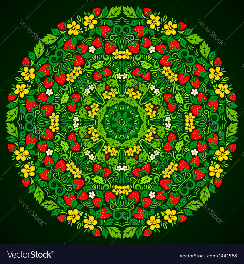 Ornate strawberries round pattern vector | Price: 1 Credit (USD $1)