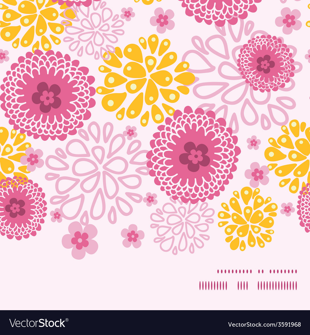 Pink field flowers horizontal frame seamless vector | Price: 1 Credit (USD $1)