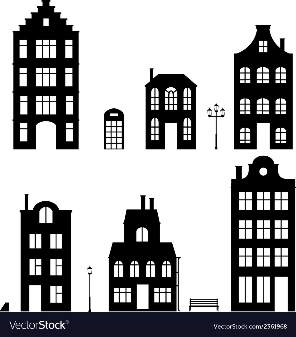 Set of houses silhouettes on white background vector | Price: 1 Credit (USD $1)