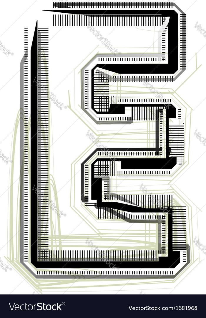 Technological font letter e vector | Price: 1 Credit (USD $1)