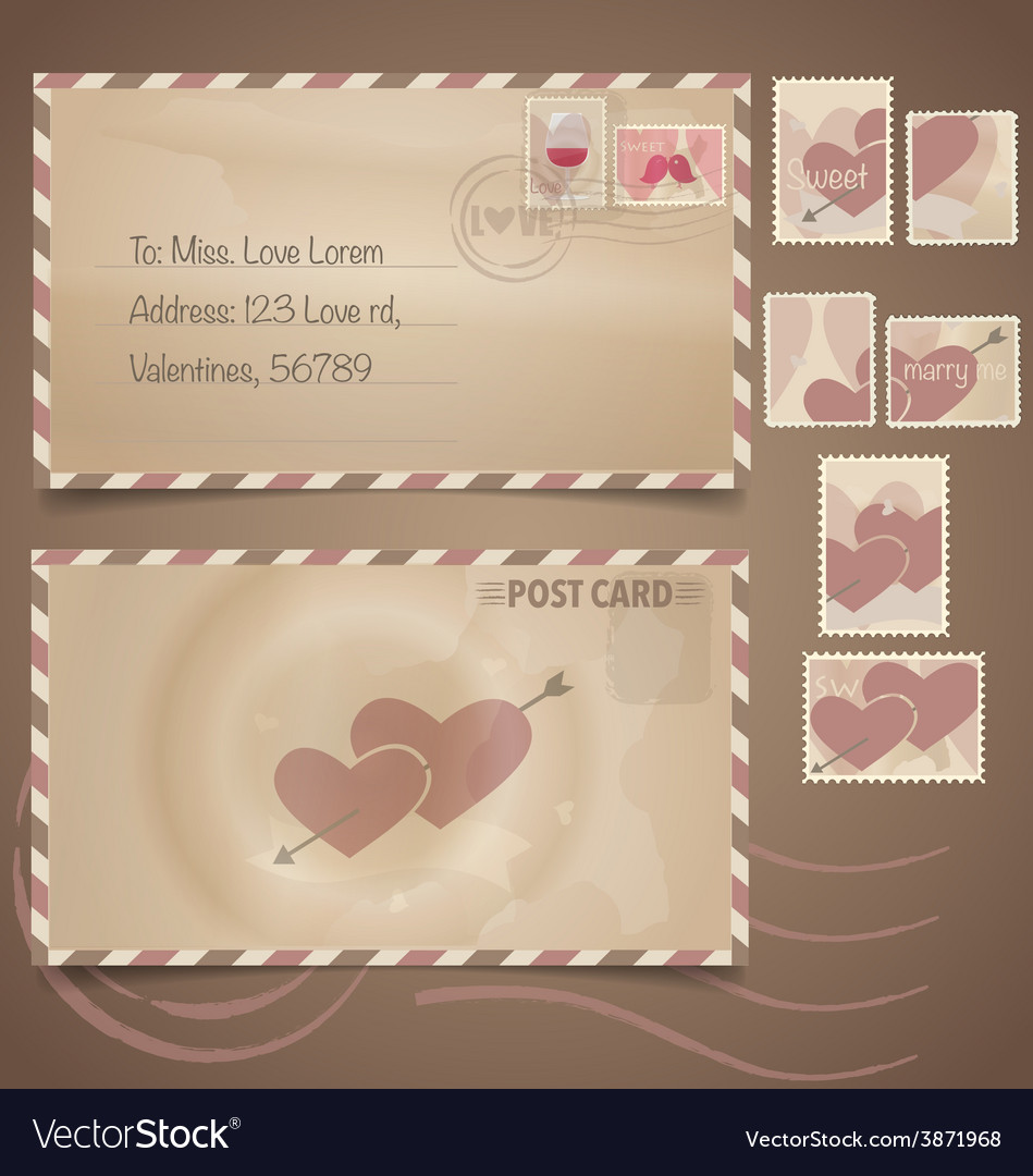 Vintage postcard background and postage stamps - vector | Price: 1 Credit (USD $1)