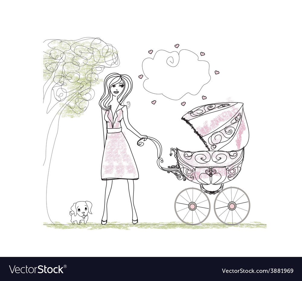Beautiful woman pushing a stroller vector | Price: 1 Credit (USD $1)