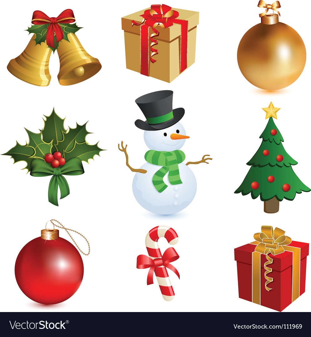 Christmas icon set vector | Price: 1 Credit (USD $1)