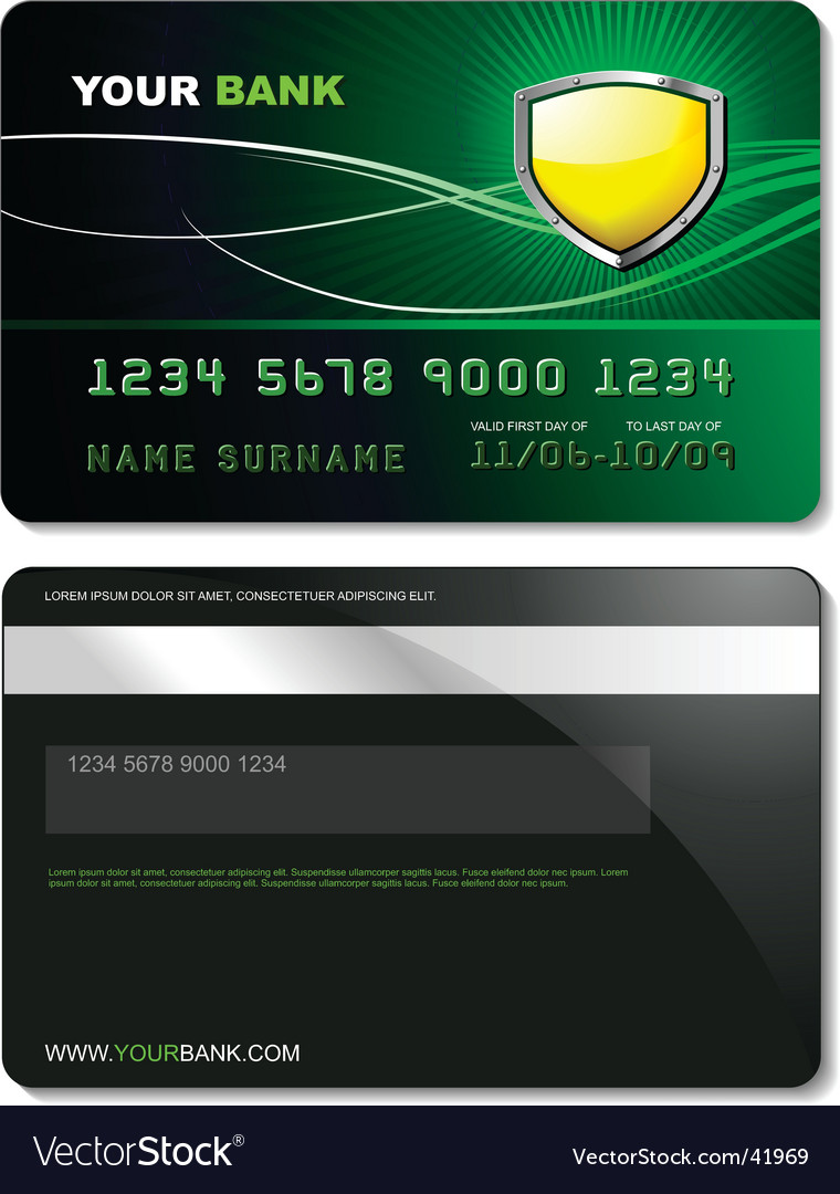 Credit card template vector | Price: 1 Credit (USD $1)