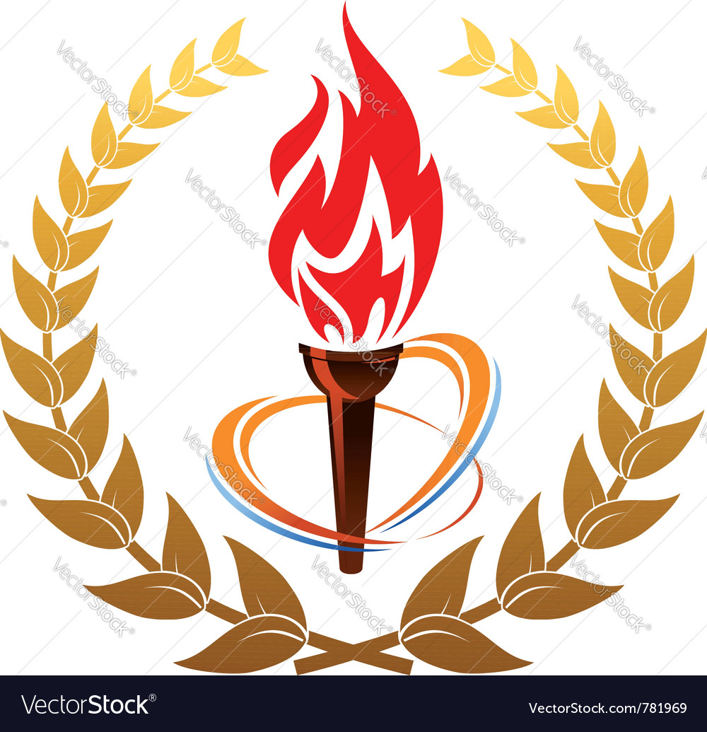 Flaming torch in laurel wreath vector | Price: 1 Credit (USD $1)