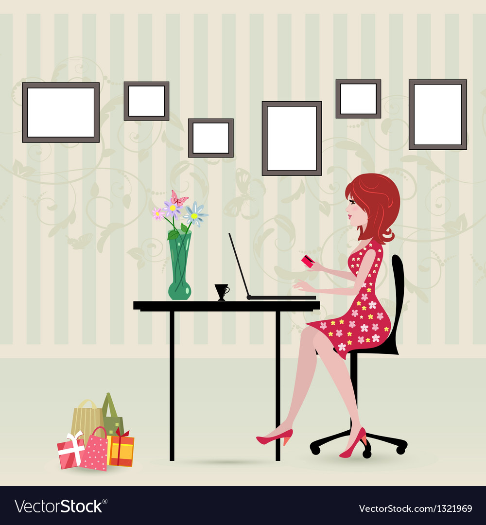 Glamorous laptop girl vector | Price: 1 Credit (USD $1)