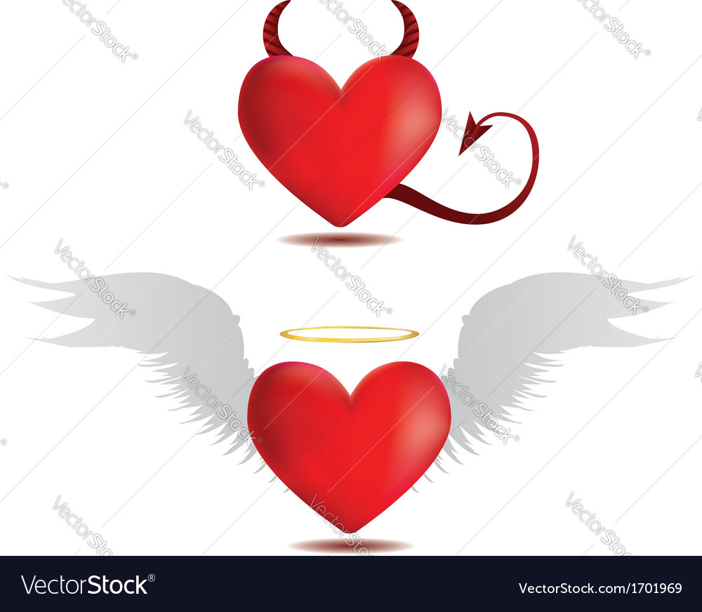 Good and evil hearts vector