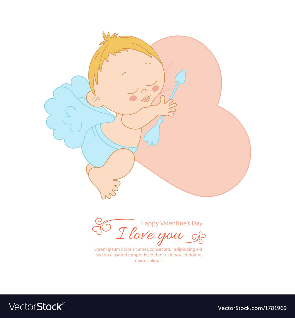 Postcard valentines day with cupid vector | Price: 1 Credit (USD $1)
