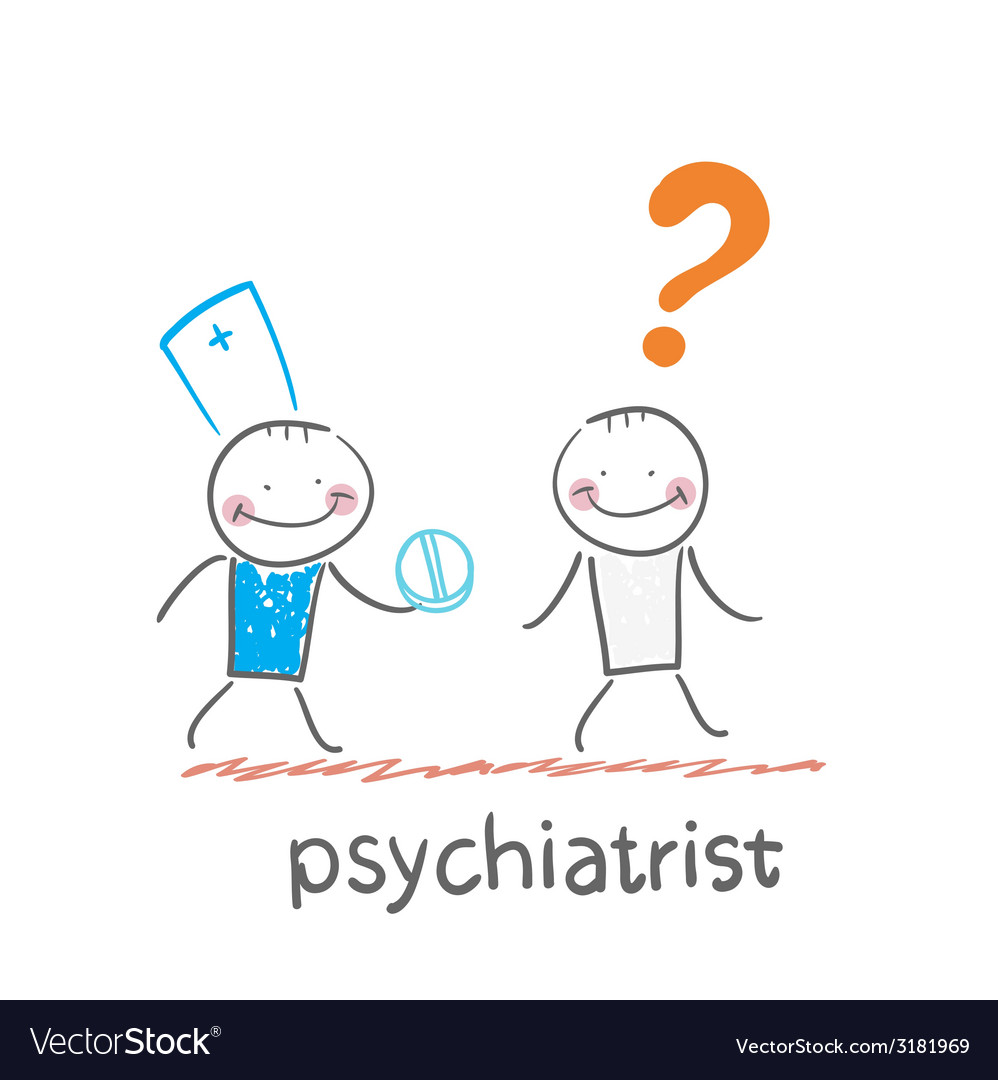Psychiatrist gives the patient a pill crazy vector   Price: 1 Credit (USD $1)