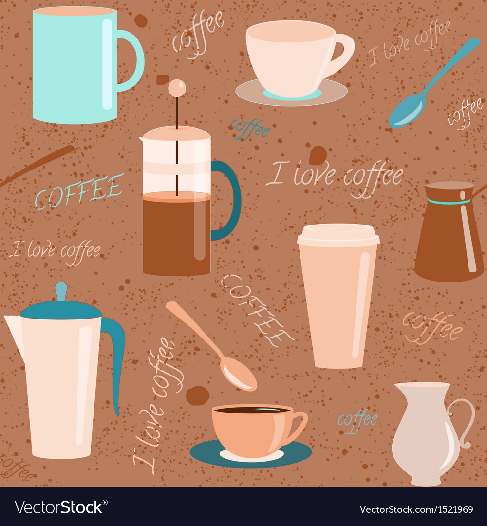 Seamless pattern with coffee related elements vector | Price: 3 Credit (USD $3)