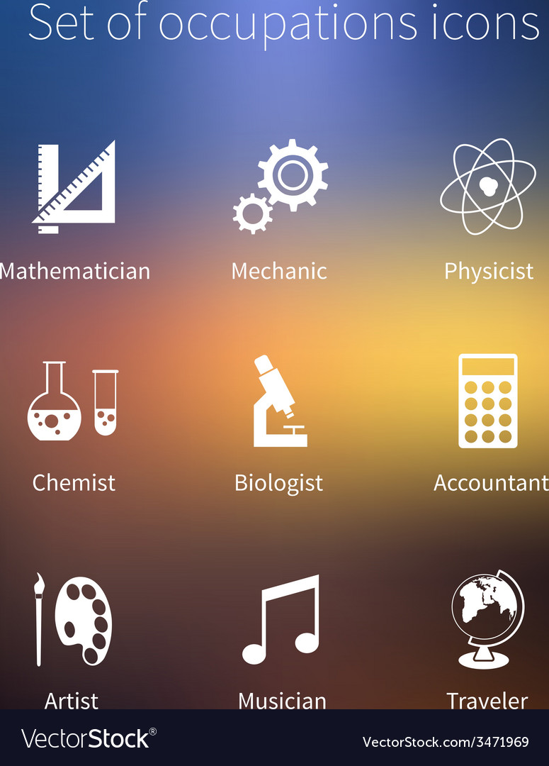 Set of occupations icons - mathematician mechanic vector | Price: 1 Credit (USD $1)