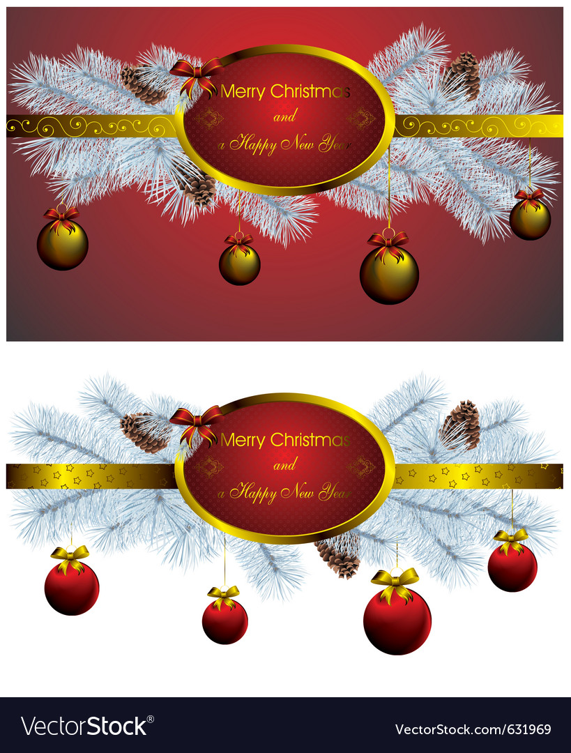 Set of two christmas label with golden decor vector | Price: 1 Credit (USD $1)