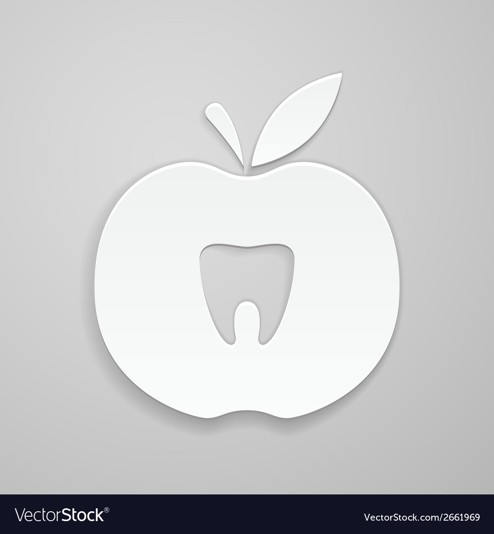 Tooth in apple vector | Price: 1 Credit (USD $1)